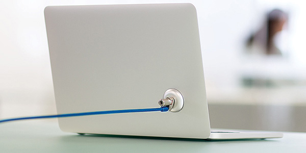 laptop with blue lead